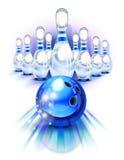 Μπλε σφαίρα μπόουλινγκ στην κίνηση και τις καρφίτσες διανυσματική απεικόνιση