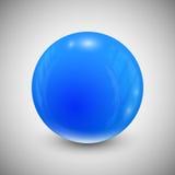 Μπλε σφαίρα που απομονώνεται σε ένα γκρίζο υπόβαθρο απεικόνιση αποθεμάτων