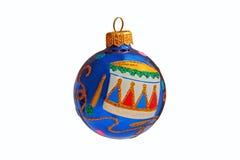 Μπλε σφαίρα Χριστουγέννων με το τύμπανο σχεδίων Στοκ Φωτογραφίες
