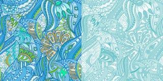 Μπλε σχέδια με τις κουκουβάγιες στο δάσος Στοκ Εικόνα
