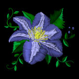 Μπλε σχέδιο γωνίας λουλουδιών κεντητικής Διανυσματικά παραδοσιακά λαϊκά μπλε clematis στο μαύρο υπόβαθρο για το σχέδιο ιματισμού Στοκ Εικόνες