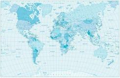Μπλε σχέδιο παγκόσμιων χαρτών κρητιδογραφιών Στοκ εικόνα με δικαίωμα ελεύθερης χρήσης
