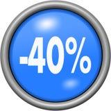 Μπλε σχέδιο 40 τοις εκατό στο στρογγυλό τρισδιάστατο κουμπί Στοκ Φωτογραφία