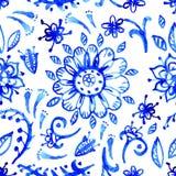Μπλε σχέδιο watercolor Στοκ Εικόνες