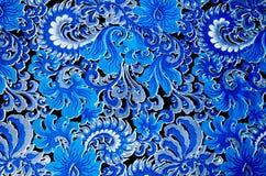Μπλε σχεδίου υφάσματος στο μαύρο υπόβαθρο Στοκ Εικόνες