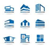Μπλε σύγχρονο καθορισμένο διανυσματικό σχέδιο εγχώριων λογότυπων Στοκ Φωτογραφίες