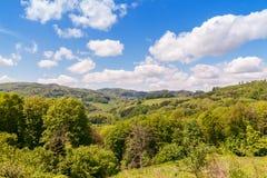 μπλε σύννεφων πλήρες πράσινο τοπίο εστίασης πεδίων ημέρας οφειλόμενο λίγη μετακίνηση όχι εμφανίζει στον ουρανό κάποια άνοιξη που  Στοκ Εικόνες