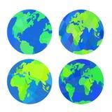 μπλε σύνολο απεικόνισης γήινων σφαιρών ανασκόπησης Ελεύθερη απεικόνιση δικαιώματος