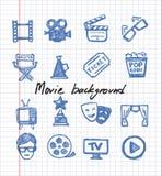 Μπλε σύνολο εικονιδίων κινηματογράφων ελεύθερη απεικόνιση δικαιώματος