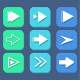 Μπλε σύνολο εικονιδίων σημαδιών βελών Στοκ Εικόνα