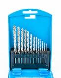 Μπλε σύνολο κιβωτίων κομματιών τρυπανιών Στοκ φωτογραφία με δικαίωμα ελεύθερης χρήσης