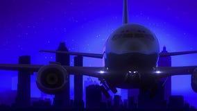Μπλε ταξίδι οριζόντων νύχτας φεγγαριών απογείωσης αεροπλάνων της Ατλάντας Γεωργία ΗΠΑ απόθεμα βίντεο