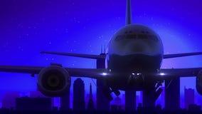 Μπλε ταξίδι οριζόντων νύχτας φεγγαριών απογείωσης αεροπλάνων της Ινδιανάπολης Ιντιάνα ΗΠΑ Αμερική ελεύθερη απεικόνιση δικαιώματος