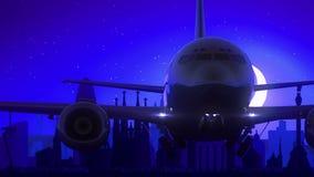 Μπλε ταξίδι οριζόντων νύχτας φεγγαριών απογείωσης αεροπλάνων της Βαρκελώνης Ισπανία απόθεμα βίντεο