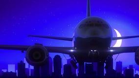 Μπλε ταξίδι οριζόντων νύχτας φεγγαριών απογείωσης αεροπλάνων της βόρειας Καρολίνας ΗΠΑ Αμερική του Σαρλόττα φιλμ μικρού μήκους