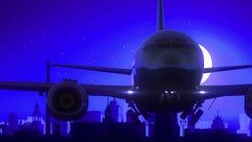 Μπλε ταξίδι οριζόντων νύχτας φεγγαριών απογείωσης αεροπλάνων της Ρωσίας Yekaterinburg φιλμ μικρού μήκους