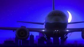 Μπλε ταξίδι οριζόντων νύχτας φεγγαριών απογείωσης αεροπλάνων της Λουισβίλ Κεντάκυ ΗΠΑ Αμερική ελεύθερη απεικόνιση δικαιώματος