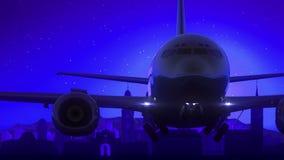 Μπλε ταξίδι οριζόντων νύχτας φεγγαριών απογείωσης αεροπλάνων της Ζυρίχης Ελβετία διανυσματική απεικόνιση