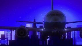 Μπλε ταξίδι οριζόντων νύχτας φεγγαριών απογείωσης αεροπλάνων του Σάο Πάολο Βραζιλία φιλμ μικρού μήκους