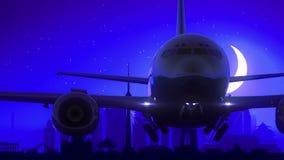 Μπλε ταξίδι οριζόντων νύχτας φεγγαριών απογείωσης αεροπλάνων του Πεκίνου Κίνα απόθεμα βίντεο
