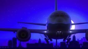 Μπλε ταξίδι οριζόντων νύχτας φεγγαριών απογείωσης αεροπλάνων του Δουβλίνου Ιρλανδία απόθεμα βίντεο