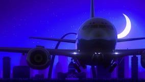 Μπλε ταξίδι οριζόντων νύχτας φεγγαριών απογείωσης αεροπλάνων του Σαιντ Λούις Μισσούρι ΗΠΑ Αμερική απεικόνιση αποθεμάτων