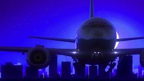 Μπλε ταξίδι οριζόντων νύχτας φεγγαριών απογείωσης αεροπλάνων του San Antonio Τέξας ΗΠΑ Αμερική διανυσματική απεικόνιση