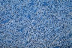 Μπλε ταπετσαρία σχεδίων του Paisley Στοκ Φωτογραφία
