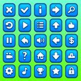 Μπλε τετραγωνικά κουμπιά παιχνιδιών καθορισμένα Στοκ εικόνα με δικαίωμα ελεύθερης χρήσης