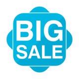 Μπλε τετραγωνική μεγάλη πώληση εικονιδίων Στοκ φωτογραφία με δικαίωμα ελεύθερης χρήσης