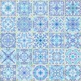 Μπλε τετραγωνικό άνευ ραφής σχέδιο κεραμιδιών Στοκ Φωτογραφίες