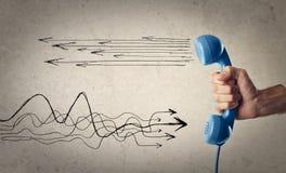 Μπλε τηλέφωνο με τα doodles Στοκ Εικόνα