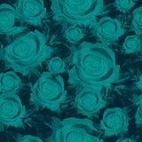 Μπλε τριαντάφυλλα, άνευ ραφής σχέδιο Στοκ εικόνες με δικαίωμα ελεύθερης χρήσης