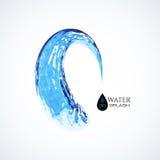 Μπλε τρισδιάστατος παφλασμός νερού που απομονώνεται στο λευκό Στοκ φωτογραφία με δικαίωμα ελεύθερης χρήσης