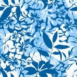 Μπλε τροπικό άνευ ραφής σχέδιο. Στοκ εικόνα με δικαίωμα ελεύθερης χρήσης