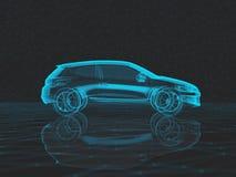 Μπλε των ακτίνων X αυτοκίνητο σε ένα σκοτεινό χαμηλό πολυ υπόβαθρο σε τρισδιάστατο διανυσματική απεικόνιση