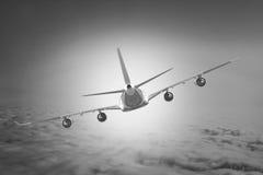 Μπλε υποβάθρου αεροπλάνων ταχύτητας αέρα αεροπορίας ουρανού ταξιδιού σύννεφων αεροπλάνων Στοκ Εικόνα