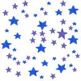 Μπλε υπόβαθρο αστεριών watercolor απεικόνιση για τη ευχετήρια κάρτα, αυτοκόλλητη ετικέττα, αφίσα, έμβλημα Απομονωμένος στο λευκό Στοκ Εικόνα