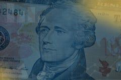 Μπλε υπόβαθρο επιχειρήσεων και χρηματοδότησης με το δολάριο Στοκ Φωτογραφία