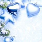 Μπλε υπόβαθρο ευχετήριων καρτών Χριστουγέννων τέχνης Στοκ εικόνα με δικαίωμα ελεύθερης χρήσης