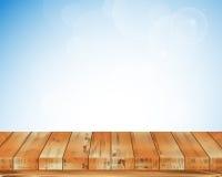 Μπλε υπόβαθρο και ξύλινο πάτωμα Στοκ εικόνες με δικαίωμα ελεύθερης χρήσης