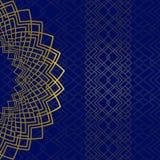 Μπλε υπόβαθρο με τη χρυσή διακόσμηση και σχέδιο στο ανατολικό ύφος με τη θέση για το κείμενο Μπορέστε να χρησιμοποιηθείτε για τη  απεικόνιση αποθεμάτων