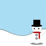 Μπλε υπόβαθρο με το χιονάνθρωπο Στοκ φωτογραφία με δικαίωμα ελεύθερης χρήσης