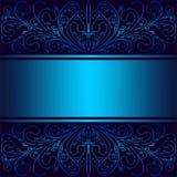 Μπλε υπόβαθρο πολυτέλειας με τα κομψές floral σύνορα και την κορδέλλα ελεύθερη απεικόνιση δικαιώματος