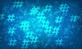 Μπλε υπόβαθρο σχεδίων hashtag τυχαίο στοκ εικόνες