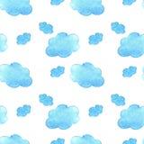 Μπλε υπόβαθρο σύννεφων watercolor Το χέρι χρωμάτισε το σύννεφο που απομονώθηκε στο λευκό Στοκ Εικόνα