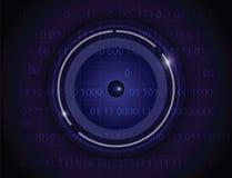 Μπλε υπόβαθρο τεχνολογίας βολβών του ματιού Στοκ Φωτογραφίες