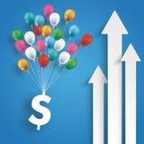 Μπλε υπόβαθρο τριών άσπρο βελών μπαλονιών δολαρίων ελεύθερη απεικόνιση δικαιώματος