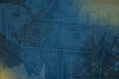 Μπλε υπόβαθρο χρηματοδότησης με τα δολάρια και τη γραφική παράσταση Στοκ Φωτογραφία