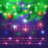 Μπλε υπόβαθρο Χριστουγέννων με τους κλαδίσκους έλατου και τις ζωηρόχρωμες σφαίρες επίσης corel σύρετε το διάνυσμα απεικόνισης Στοκ Εικόνες